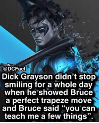 "I'd be smiling for the next 2 weeks: @DCFact  Dick Grayson didn't stop  smiling for a whole day  when he showed Bruce  a perfect trapeze move  and Bruce said ""you can  teach me a few things"". I'd be smiling for the next 2 weeks"