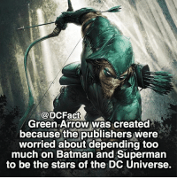 Batman, Memes, and Superman: DCFact  Green Arrow was created  because the publishers were  worried about depending too  much on Batman and Superman  to be the stars of the DC Universe. Who's your favourite DC character?