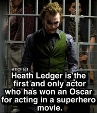 Who's excited for Justice League? 🤚🏼: @DCFact  Heath Ledger is the  first and only actor  who has won an Oscar  for acting in a superhero  movie. Who's excited for Justice League? 🤚🏼