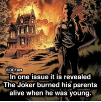 Alive, Joker, and Memes: @DCFact  In one issue it is revealed  The Joker burned his parents  alive when he was young Is Joker the best DC villain? (📸 from @blazefacts)