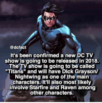 """Nightwing TV show? Yes please. 😍: @dcfact  It's been confirmed a new DC TV  show is going to be released in 2018.  The TV show is going to be called  """"Titans"""" and will have Dick Grayson/  Nightwing as one of the main  characters. It'll also most likely  involve Starfire and Raven among  other characters. Nightwing TV show? Yes please. 😍"""