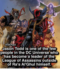 Memes, The League, and Awesome: @DCFact  Jason Todd is one of the few  people in the DC Universe who  has become a leader of the  League of Assassins outside  of Ra's Al'Ghul himself. Jason looks so awesome with the robe 😝