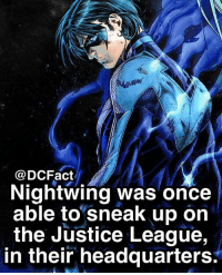 Memes, Justice, and Justice League: @DCFact  Nightwing was once  able to sneak up on  the Justice League,  in their headquarters. Stealthy guy 😱