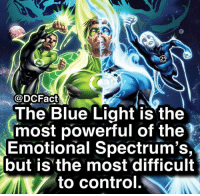 Memes, Control, and Black: @DCFact  The Blue Light is the  most powerful of the  Emotional Spectrum's,  but is the most difficult  to control. Are you excited for the Lantern Corps movie coming out? 🤔(White-Black aren't a part of the Spectrum)