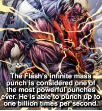"Try to spell ""Flash"" in the comments below, letter by letter without getting interrupted. ⚡️: @DCFact  The Flash's infinite mass  punch is considered one of  the most powerful punches  ever. He is able to punch up to  one billion times per second. Try to spell ""Flash"" in the comments below, letter by letter without getting interrupted. ⚡️"
