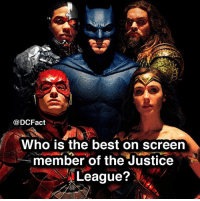 my favourite is wonder woman so far but think aquaman will be my man batman superman bvsdoj justiceleague darkseid lexluthor thedarkknight joker gotham cast: @DCFact  Who is the best on screen  member of the Justice  League? my favourite is wonder woman so far but think aquaman will be my man batman superman bvsdoj justiceleague darkseid lexluthor thedarkknight joker gotham cast