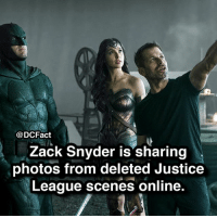 Batman, Joker, and Memes: @DCFact  Zack Snyder is sharing  photos from deleted Justice  League scenes online. justiceleague dc batman superman wonderwoman joker gotham snydercut
