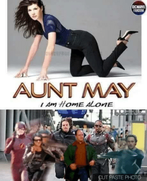 Being Alone, Home Alone, and Home: DCMARVE  FANDOM  AUNT MAY  Am HomE ALONE  @demarvel.tandem  CUT PASTE PHOTO It's Marisa Tomei, Jerry!