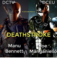 "(SWIPE LEFT) @ManuBennett will reprise his role as Slade Wilson on Arrow. What are your thoughts on his Deathstroke?: DCTV  DCEU  IG THEBATBRAND  DEATHSTRORE  Manu  Joe"",  Bennett A Manganiello (SWIPE LEFT) @ManuBennett will reprise his role as Slade Wilson on Arrow. What are your thoughts on his Deathstroke?"
