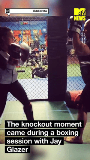 Proof that Demi Lovato packs a mean punch? 💁: @ddlovato  NEWS  The knockout moment  came during a boxing  session with Jay  Glazer Proof that Demi Lovato packs a mean punch? 💁