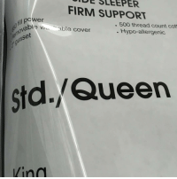 Oc: DE FIRM SUPPORT  ill po  500 thread count cou  ble wu able cover  Hypo-allergenic.  usset  std. Queen Oc