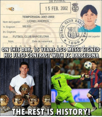 Barcelona, Club, and Memes: DE FUL  15 FEB, 2002  TEMPORADA: 2001-2002  UB BA  Nom del jugador LIONEL ANDRES  MESSI  1r. Cognom  2n. Cognom  del jugador  Club FUTBOL CLUB BARCELONA  Num.  Data de naixement  7 89  ON THIS DAY 15 YEARS AGO  MESSI SIGNED  HIS FIRST CONTRACT WITH FC BARCELONA  NEUER  THE REST IS STORY! The Rest Is History!! 👌