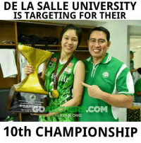 Earned It, Volleyball, and Filipino (Language): DE LA SALLE UNIVERSITY  IS TARGETING FOR THEIR  Alle  CHAMPI  LCOMM  RYANONG  10th CHAMPIONSHIP De La Salle University is gunning for their 10TH CHAMPIONSHIP. Will they earn it?