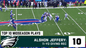 The @Eagles' 10 BEST plays at midseason! #FlyEaglesFly https://t.co/ZbrUEQDveq: DE  TOP 10 MIDSEASON PLAYS  10  ALSHON JEFFERY:  11-YD DIVING REC The @Eagles' 10 BEST plays at midseason! #FlyEaglesFly https://t.co/ZbrUEQDveq