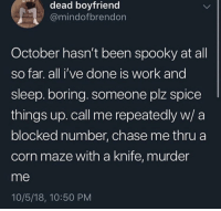 Work, Chase, and Boyfriend: dead boyfriend  @mindofbrendon  October hasn't been spooky at all  so far. all i've done is work and  sleep. boring. someone plz spice  things up. call me repeatedly w/ a  blocked number, chase me thru a  corn maze with a knife, murder  me  10/5/18, 10:50 PM Me irl