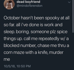 Me irl by MagicalScarf MORE MEMES: dead boyfriend  @mindofbrendon  October hasn't been spooky at all  so far. all i've done is work and  sleep. boring. someone plz spice  things up. call me repeatedly w/ a  blocked number, chase me thru a  corn maze with a knife, murder  me  10/5/18, 10:50 PM Me irl by MagicalScarf MORE MEMES