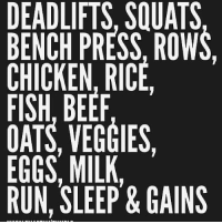 Beef, Memes, and Run: DEADLIFTS, SQUATS  BENCH PRESS, ROWS,  CHICKEN, RICIE  FISH, BEEF  OATS, VEGGIES,  EGGS, MILK,  RUN, SLEEP & GAINS Simple yet so powerful