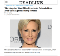 News, Breaking News, and Business: DEADLINE  BUSINESS/BREAKING NEWS/COMMENTARY  Morning Joe' Host Mika Brzezinski Defends Boss  Andy Lack Against Trump Tweets  Bruce Haring  August 30, 2018 5:08PM PDT  PARIS  RexiSh  Mika Brzezinski has risen to defend NBC News chairman Andrew Lack, whom  President Trump attacked in a tweetstorm this morning.