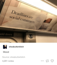 Mood, Old, and Never: Deadlines are  social constructs.  old doors  L3  sheabutterbitch  Mood  Source: sheabutterbitch  4,201 notes meet deadlines like I meet people: never