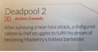 Sounds about right.: Deadpool 2  R Action, Comedy  After surviving a near fatal attack, a disfigured  cafeteria chef struggles to fulfill his dream of  becoming Mayberry's hottest bartender. Sounds about right.