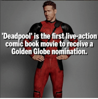 Golden Globes, Memes, and Movies: Deadpool' is the first live-action  comic book movie to receive a  Golden Globe nomination Do you think Logan should win an Oscar though!? 🔥 Follow @deadpoolfacts for daily Deadpool posts! 💪 @vancityreynolds 🙌 wadewilson marvelnation driveby q dc fox movies deadpool marvel deadpool2 hahaha lmfao heh