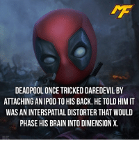Facts, Meme, and Memes: DEADPOOL ONCE TRICKED DAREDEVIL BY  ATTACHING AN IPOD TO HIS BACK. HE TOLD HIM IT  WAS AN INTERSPATIAL DISTORTER THAT WOULD  PHASE HIS BRAIN INTO DIMENSIONX |- Oh deadpool -| - - - - marvel marveluniverse dccomics marvelcomics dc comics hero superhero villain xmen apocalypse xmenapocalypse mu mcu doctorstrange spiderman deadpool meme captainamerica ironman teamcap teamstark teamironman civilwar captainamericacivilwar marvelfact marvelfacts fact facts suicidesquad