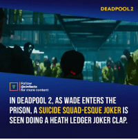 """It may also be worth mentioning that later on in prison there is a reference to the DC universe when Wade says,""""So dark. You sure you're not from the DC Universe."""" Your thoughts?⠀ -⠀ Follow @cinfacts for more facts: DEADPOOL2  Follow  @cinfacts  for more content  IN DEADPOOL 2, AS WADE ENTERS THE  PRISON, A SUICIDE SQUAD-ESQUE JOKER IS  SEEN DOING A HEATH LEDGER JOKER CLAP It may also be worth mentioning that later on in prison there is a reference to the DC universe when Wade says,""""So dark. You sure you're not from the DC Universe."""" Your thoughts?⠀ -⠀ Follow @cinfacts for more facts"""