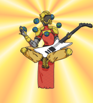 Hello, Tumblr, and Alien: deadysprinkles:My 3rd TupperWatch drawing! Say hello to Zenyobos, the peaceful alien cyborg who is happy to play some sick riffs on his guitar for you.