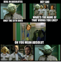 Memes, Sith, and Mean: DEAL IN ABSOLUTES  HEY ANI  WHAT'S THE NAME OF  THAT VODKA YOU LIKE?  ONLY THE SITH DOES  OH YOU MEAN ABSOLUT