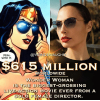 "WONDROUS NEWS! According to Forbes Magazine, in an article written by Scott Mendelson on June 24th 2017, ""WONDER WOMAN"" is now the highest grossing live-action film directed by a SOLO female director. * Previous Record Holder: Phyllida Lloyd's Mamma Mia! earned $609m in 2008. Next Record Breaking: Jennifer Yuh Nelson's ""Kung Fu Panda 2"" at $665m in 2011. *** @gal_gadot mywonderwoman girlpower women femaleempowerment MulherMaravilha MujerMaravilla galgadot unitetheleague princessdiana dianaprince amazons amazonwarrior manofsteel thedarkknight recordbreaker femaledirector bestfilm academyawards oscars: DEAL  WITH IT  @WONDERVAUGH  $615 MILLION  RLDWIDE  WONDER WOMAN  IS THE BIGGEST-GROSSING  LIVE ACTON MOVIE EVER FROM A  LO FEMA DIRECTOR WONDROUS NEWS! According to Forbes Magazine, in an article written by Scott Mendelson on June 24th 2017, ""WONDER WOMAN"" is now the highest grossing live-action film directed by a SOLO female director. * Previous Record Holder: Phyllida Lloyd's Mamma Mia! earned $609m in 2008. Next Record Breaking: Jennifer Yuh Nelson's ""Kung Fu Panda 2"" at $665m in 2011. *** @gal_gadot mywonderwoman girlpower women femaleempowerment MulherMaravilha MujerMaravilla galgadot unitetheleague princessdiana dianaprince amazons amazonwarrior manofsteel thedarkknight recordbreaker femaledirector bestfilm academyawards oscars"