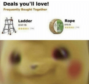 Deals you'll love by rooniedoodle MORE MEMES: Deals you'll love!  Frequently Bought Together  Rope  Ladder  $10.43  $147.78  *ww Deals you'll love by rooniedoodle MORE MEMES
