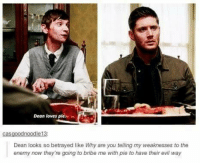 bribe: Dean loves ple  noodle 13  Cas  Dean looks so betrayed like Why are you telling my weaknesses to the  enemy now they're going to bribe me with pie to have their evil way