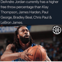 Chris Paul, DeAndre Jordan, and James Harden: DeAndre Jordan currently has a higher  free throw percentage than Klay  Thompson, James Harden, Paul  George, Bradley Beal, Chris Paul &  LeBron James. The more you know....