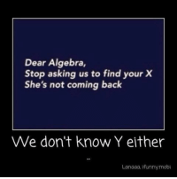 Asking, Back, and Algebra: Dear Algebra,  Stop asking us to find your X  She's not coming back  We don't know Y either  Lanaaa, Ifunny mobi https://t.co/QtzcrIfUZk