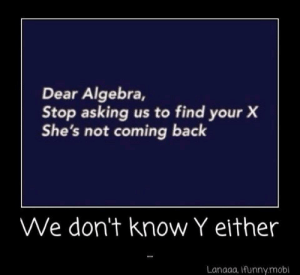 Quick maths: Dear Algebra,  Stop asking us to find your X  She's not coming back  We don't know Y either  Lanaaa, Ifunny.mobl Quick maths