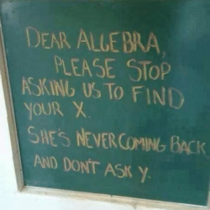 laughoutloud-club:  Dear Algebra: DEAR ALLE BRA  PLEASE STOP  SKINb US TO FIND  SHES NEVER COMING BACK  AND DONT ASK Y laughoutloud-club:  Dear Algebra