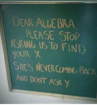dear algebra: DEAR ALLE BRA  PLEASE STOP  SKINb US TO FIND  SNES NEVERCİMINbBCK  AND DONT ASK Y