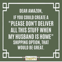 "#AnnieMHM All Things Thrifty: DEAR AMAZON  IF YOU COULD CREATE A  ""PLEASE DON'T DELIVER  ALL THIS STUFF WHEN  MY HUSBAND IS HOME""  SHIPPING OPTION, THAT  WOULD BE GREAT  ALL THINGS  THRIFTY #AnnieMHM All Things Thrifty"