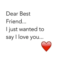 best friend: Dear Best  Friend  I just wanted to  say I love you