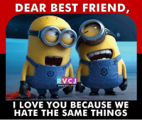 Memes, 🤖, and I Love You Because: DEAR BEST FRIEND  RVCJ  WWW.RVC J.COM  I LOVE YOU BECAUSE WE  HATE THE SAME THINGS Dear best friend.. rvcjinsta