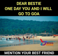 Best Friend, Memes, and Best: DEAR BESTIE  ONE DAY YOU AND I WILL  GO TO GOA  BEING  SINGLE  MENTION YOUR BEST FRIEND