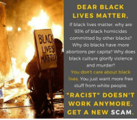 "Black Lives Matter, Memes, and White People: DEAR BLACK  LIVES MATTER  If black lives matter. why are  93% of black homicides  committed by other blacks?  Why do blacks have more  abortions per capita? Why does  black culture glorify violence  and murder?  You don't care about black  lives. You just want more free  stuff from white people  ""RACIST"" DOESN'T  BLAC  LIVES  WORK ANYMORE  GET A NEW SCAM A note to these idiots. Cold Dead Hands"