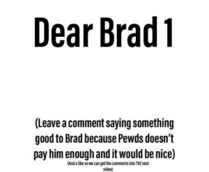 Good, Guess, and Video: Dear Brad1  (Leave a comment saying something  good to Brad because Pewds doesn't  pay him enough and it would be nice)  (And a like sowe can get the comments into ThE next  video) And Brad 2 I guess