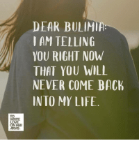 https://twloha.com/blog/youve-been-served-a-letter-to-my-bulimia/: DEAR BULIMI  I AM TELLING  YOU RIGHT NOW  THAT YOU WILL  NEVER COME BACh  INTO MY LIFE  TO  WRITE  LOVE  HER  ARMS. https://twloha.com/blog/youve-been-served-a-letter-to-my-bulimia/