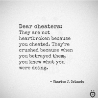 heartbroken: Dear cheaters:  They are not  heartbroken because  you cheated. They're  crushed because when  you betrayed them,  you knew what you  were doing.  - Charles J. Orlando