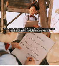 Love, Memes, and Darla: Dear Darla, hate your stinking quts! You make me vomit!  You're scum between my toes! Love, Alfalfa The Little Rascals