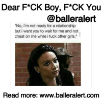 "Ass, Dude, and Family: Dear F*CK Boy, F*CK You  @balleralert  ""No, i'm not ready for a relationship  but i want you to wait for me and not  cheat on me while i fuck other girls.""  Read more: www.balleralert.comm Dear F*CK Boy, F*CK You Dear F*CK Boy, ⠀⠀⠀⠀⠀⠀⠀⠀⠀⠀⠀⠀⠀⠀⠀⠀⠀⠀⠀⠀⠀⠀⠀⠀⠀⠀⠀⠀⠀⠀⠀⠀⠀⠀ F*ck you, your ""ain't sh*t"" father, your whore of a mother, and the rest of the bum bitches in your family. I would say something about your pissy grandmother, but she makes a mean buttermilk pie and although she has Alzheimer's, she remembers me. Anyway, it amazes me that you intentionally seek good women for the sole purpose of f*cking them over. You never get a b*tch that's full of shhh like you, do you? It's too much like you, right? ⠀⠀⠀⠀⠀⠀⠀⠀⠀⠀⠀⠀⠀⠀⠀⠀⠀⠀⠀⠀⠀⠀⠀⠀⠀⠀⠀⠀⠀⠀⠀⠀⠀⠀ Oh, how I want to go in your grill and reconfigure your smile. I can not fathom a more gratifying action. Even though I'm beyond angry, resoundingly the blame rests on me. I allowed you to f*ck me over. I pretended to not see the signs, excusing your behavior as nothing when it was everything. I believed you after I caught you in the first lie. I bought the wolf and then turned around and gave you the currency to invest in the dream. ⠀⠀⠀⠀⠀⠀⠀⠀⠀⠀⠀⠀⠀⠀⠀⠀⠀⠀⠀⠀⠀⠀⠀⠀⠀⠀⠀⠀⠀⠀⠀⠀⠀⠀ Yes, I am beyond angry, and while I would like to either carry your ass on my taxes for next year or be reimbursed, I must thank you for the experience. You taught me so many valuable lessons like don't trust a man's mouth or his actions. Trust his consistency. Every dude doesn't deserve all of me. As much as I would like to help and make life easier, you're a man. Figure the shhh out. My job isn't to hold you down or ensure you're good. Thanks to you, I know that the ""cousin"" is really a side chick you've been smashing. I have to be careful with the term ""friend"" and that a hungry whore will do anything... to read more log onto BallerAlert.com (clickable link in profile)"