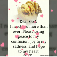God, Memes, and Heart: Dear God:  I need u more thar  ever. Please bring  peace to my  confusion, joy to my  sadness, and hope  to my heart.  Amen  Beauty of ufe
