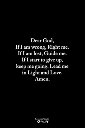 God, Life, and Love: Dear God,  If I am wrong, Right me.  IfI am lost, Guide me.  IfI start to give up.,  keep me going. Lead me  in Light and Love.  Amen.  Lessons Taught  By LIFE <3