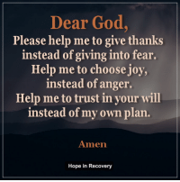 Dear God, I pray that....: Dear God  Please help me to give thanks  instead of giving into fear.  Help me to choose joy,  instead of anger.  Help me to trust in your will  instead of my own plan.  Amen  Hope in Recovery Dear God, I pray that....